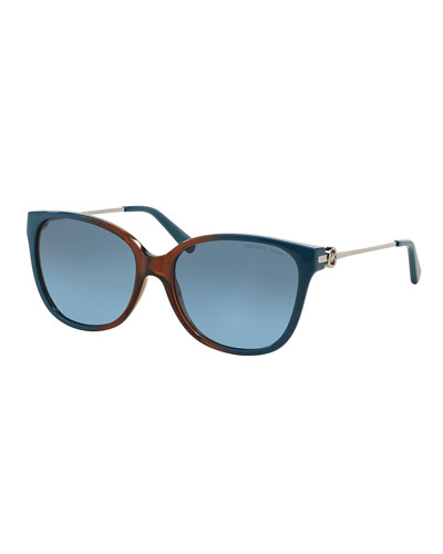 Square Metal & Acetate Ombre Sunglasses