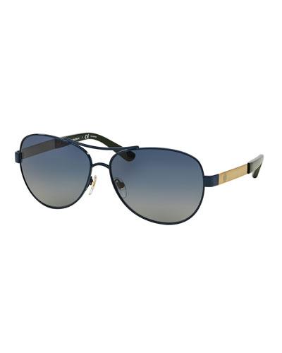 Polarized Aviator Sunglasses, Navy