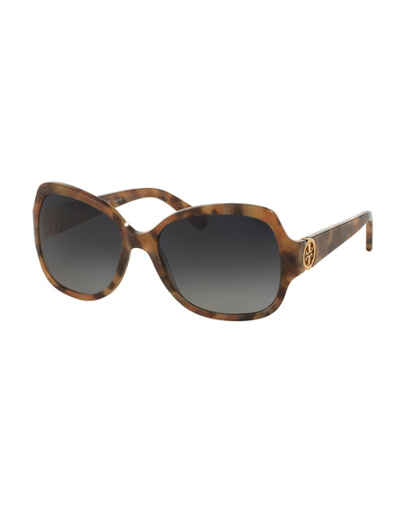 Tory Burch Polarized Squared Butterfly Sunglasses, Brown/Pink