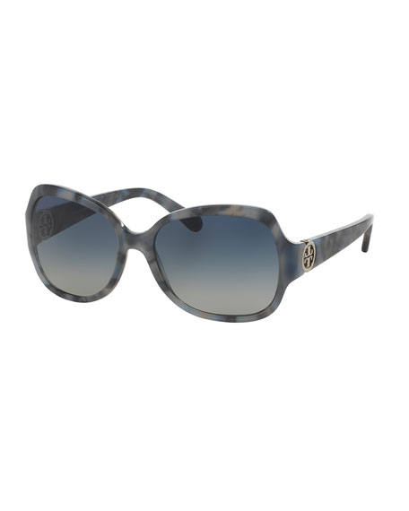 Tory Burch Gradient Squared Butterfly Sunglasses, Blue Granite