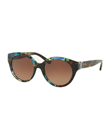 Tory Burch Polarized Rounded Plastic Sunglasses, Tortoise Blue