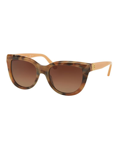 Polarized Cat-Eye Colorblock Sunglasses, Brown/Pink