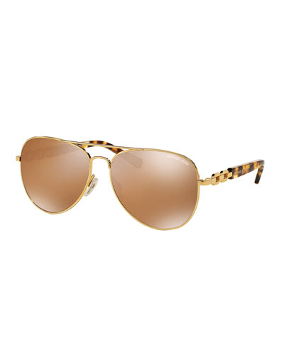 Polarized Chain-Link Aviator Sunglasses, Gold