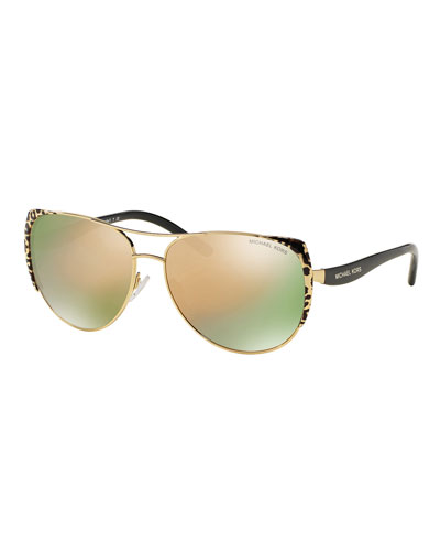 Capped Mirrored Aviator Sunglasses