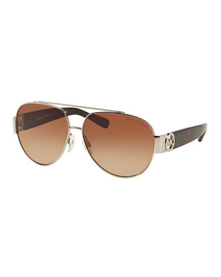 Michael Kors Gradient Metal & Acetate Aviator Sunglasses, Tortoise-Print/Silver