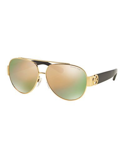 Mirrored Metal & Acetate Aviator Sunglasses, Gold/Black