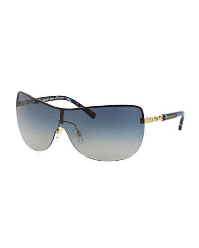 Gradient Chain-Link Shield Sunglasses