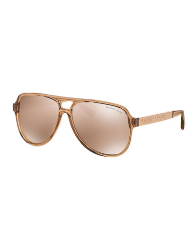 Mirrored Universal-Fit Aviator Sunglasses, Rose Gold