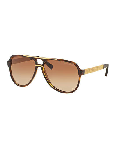 Gradient Metal-Arm Aviator Sunglasses