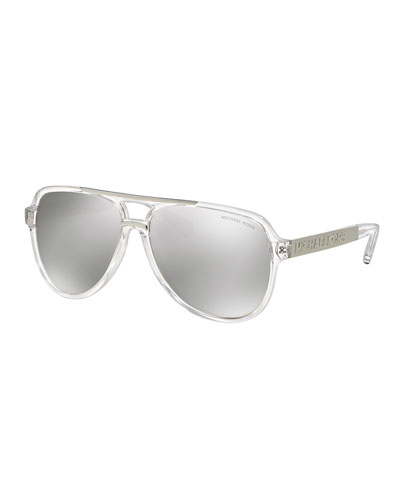 Mirrored Metal-Arm Aviator Sunglasses, Silver