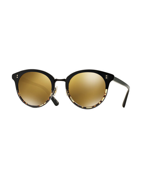 Oliver Peoples Spelman Mirrored Sunglasses, Black/Brown Gold