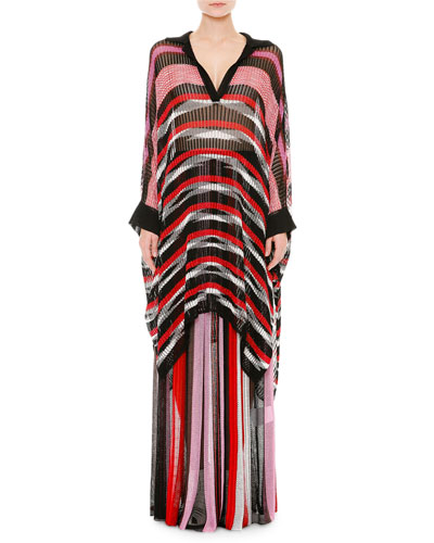 Long-Sleeve Striped Poncho, Pink/Red/Black/White
