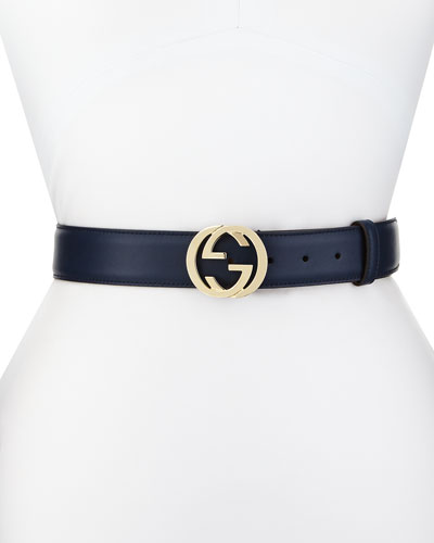 Wide Adjustable GG-Buckle Belt, Cobalt
