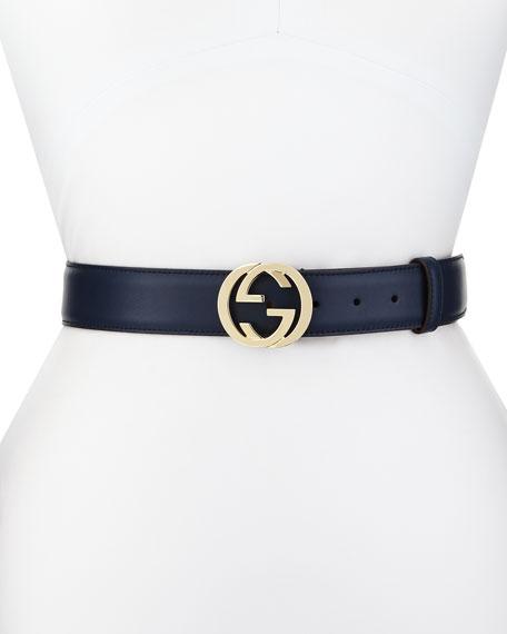 Gucci Wide Adjustable GG-Buckle Belt, Cobalt