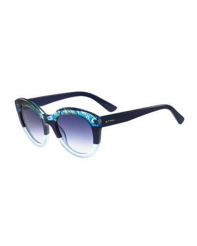 Paisley-Trim Cat-Eye Sunglasses