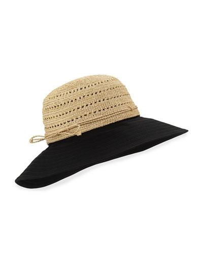 Kessy 10 Raffia Sun Hat, Natural/Black