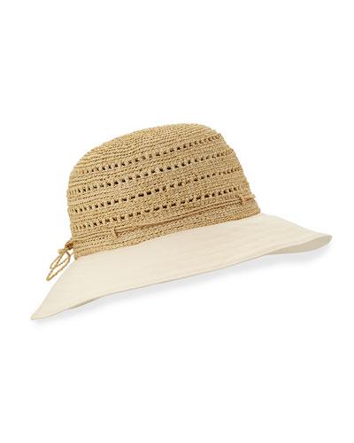 Kessy 8 Raffia & Canvas Sun Hat, Natural/Shell