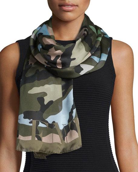Valentino silk voile camo scarf green tea multicolor - Voile d ombrage camouflage ...