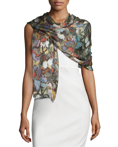 Camu Butterfly Silk Voile Shawl, Multicolor