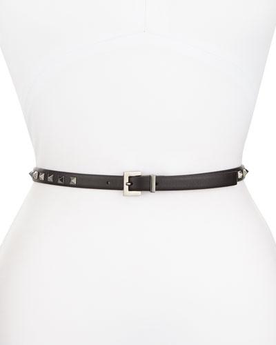 Rockstud Skinny Leather Waist Belt, Black
