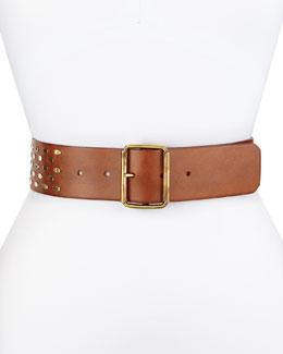 Studded Leather Contour Hip Belt