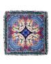 Tasseled Silk Paisley Scarf, Blue/Pink