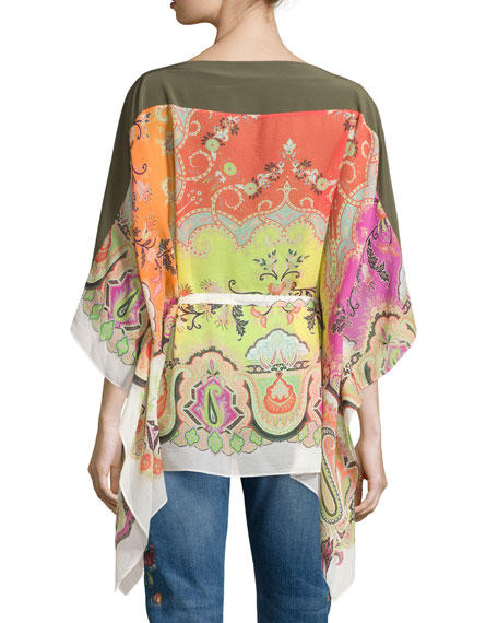 Silk Paisley-Print Belted Poncho, Multi