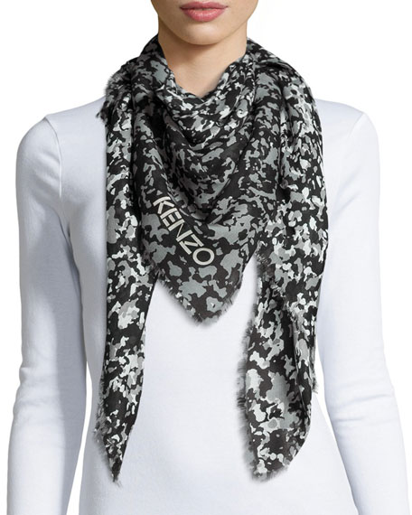 Kenzo Faded Sand Camo-Print Square Scarf, Gray