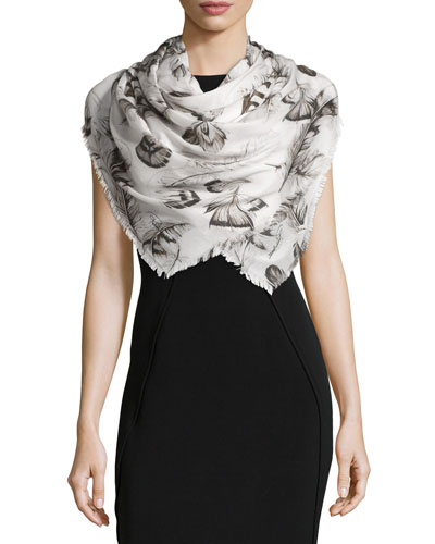 Floral Voile Scarf/Shawl, Ice Gray