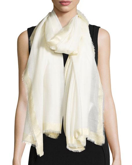 Diane von Furstenberg Metallic-Trim Sheer Wool Scarf, Ivory/Gold