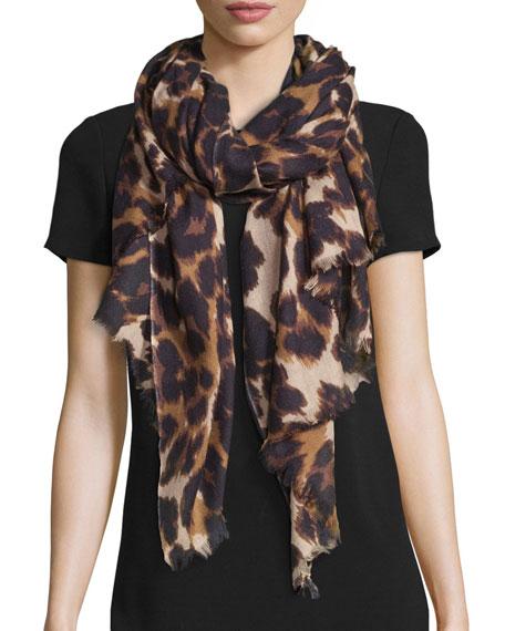 Diane von Furstenberg Kenley Snow Cheetah Cashmere Scarf