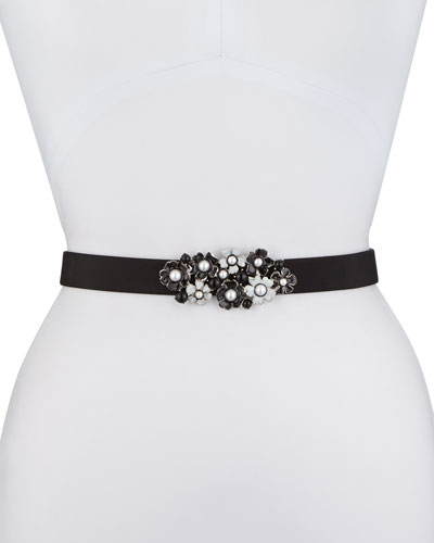 Silk Floral-Buckle Belt, Black