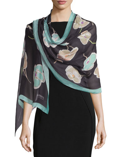 Floral Silk Chiffon Stole, Black