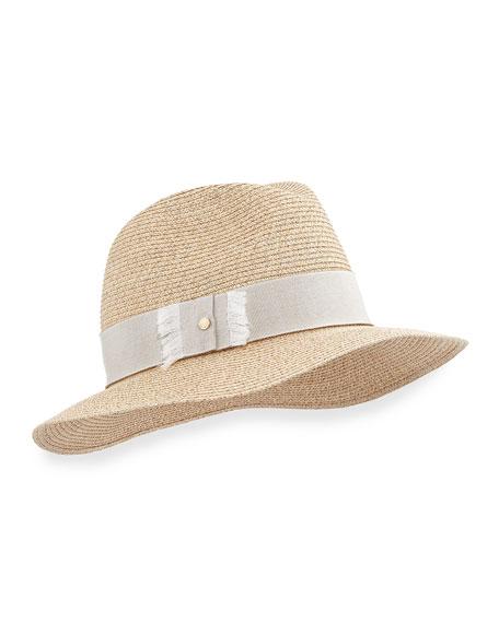 Indi Straw Fedora Hat, Beige