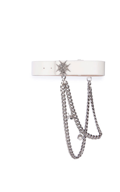 Embellished Draped-Chain Wide Leather Belt, White