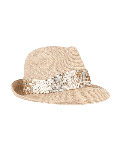 Max Fedora Hat w/ Sequin Band, Sand