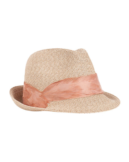 Max Fedora Hat w/ Feather Band, Sand