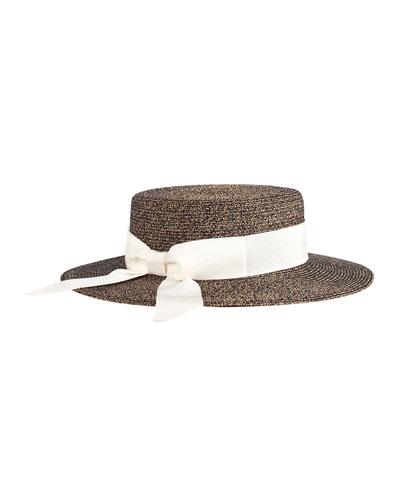 Brigitte Boater Hat w/ Bow, Natural/Black