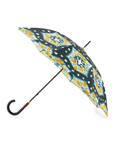 Waterloo Tie-Dye Walking Umbrella, Cerulean Blue