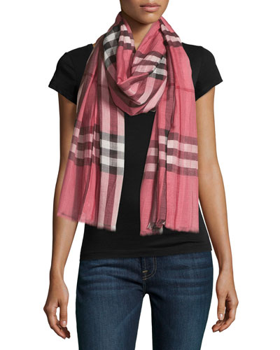 Giant-Check Wool/Silk Scarf, Blush Pink