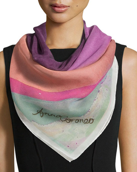 Anna Coroneo Abyss Classic Silk Square Scarf, Pink