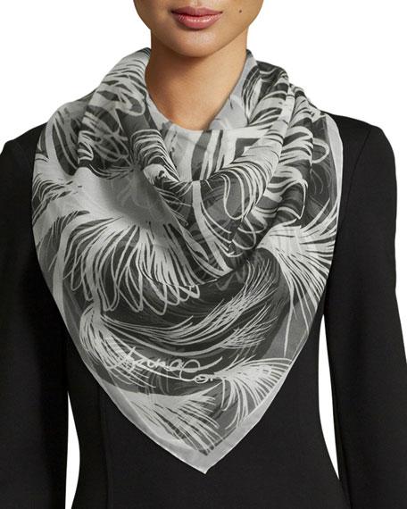 Anna Coroneo Majorelle Classic Silk Square Scarf, Black/White