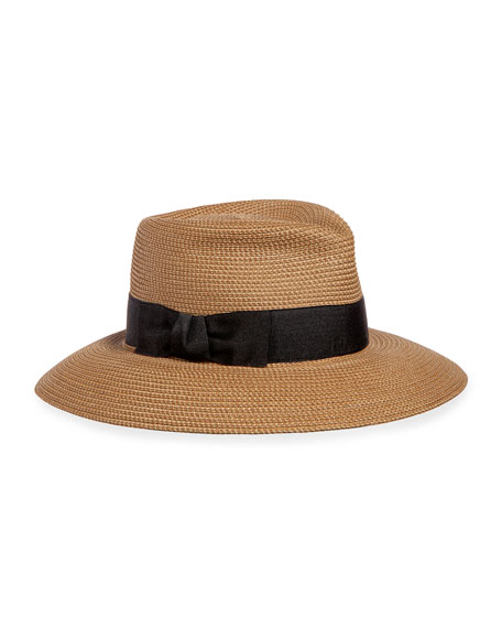 Eric Javits Phoenix Woven Boater Hat, Natural/Black