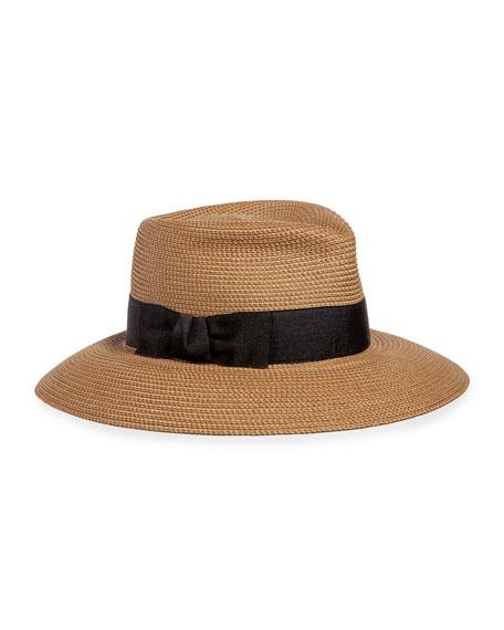 Eric Javits Phoenix Woven Boater Hat, Natural/Black