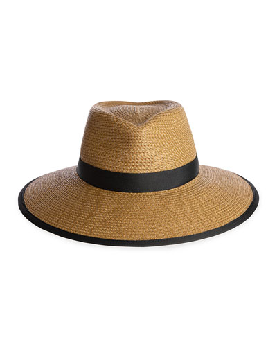 Sun Crest Woven Sun Hat, Natural/Black