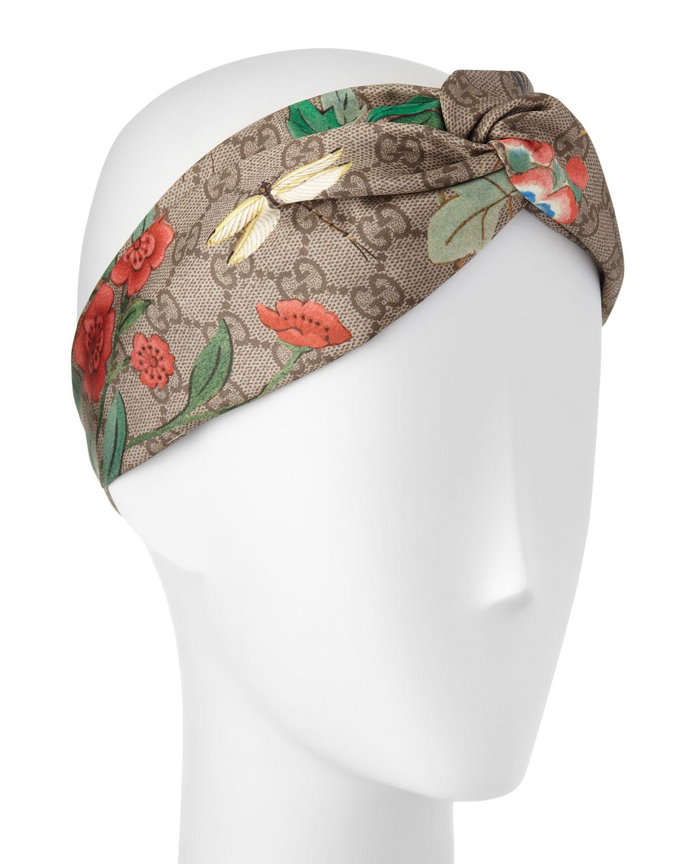 Gucci Tiana Floral Logo Silk Headband 810bf96c570