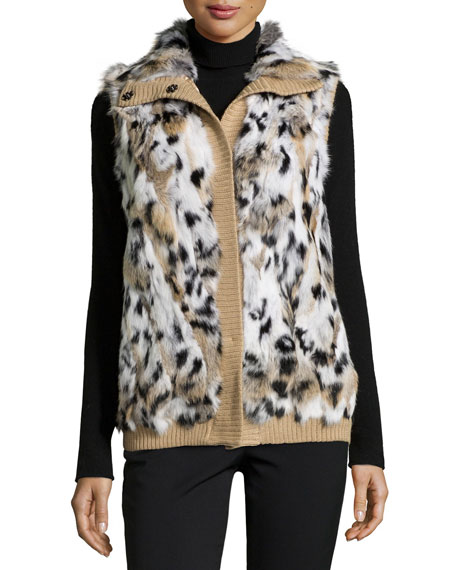 Jocelyn Animal-Spotted Rabbit-Fur Vest, Brown