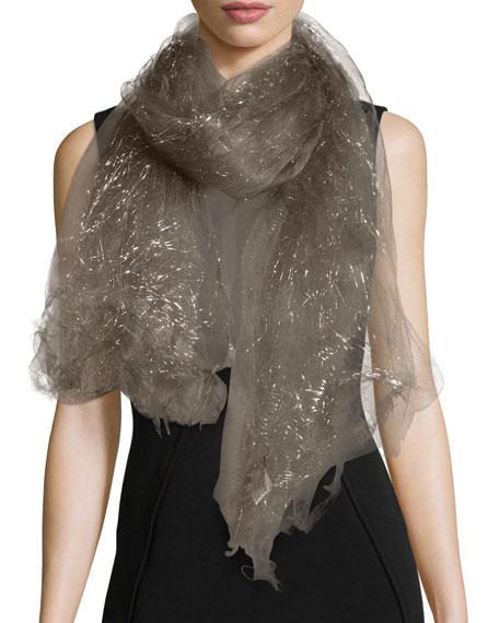 Faliero Sarti Dionix Metallic Silk-Blend Scarf, Charcoal