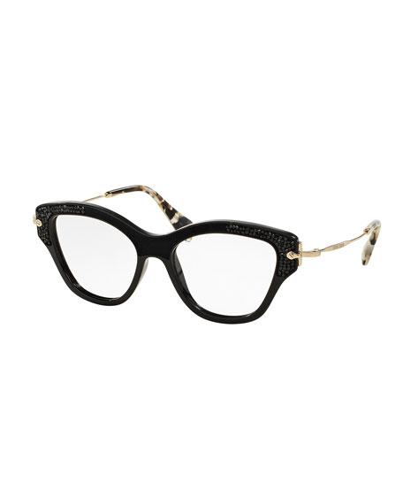 miu miu bead trim cat eye optical frames black - Miu Miu Glasses Frames