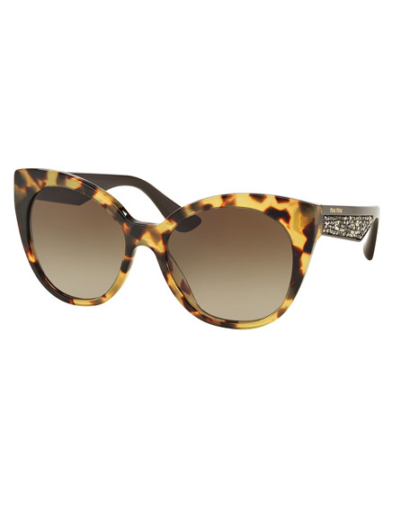 Beaded Cat-Eye Sunglasses, Light Havana